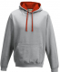 Heather Grey - Fire Red